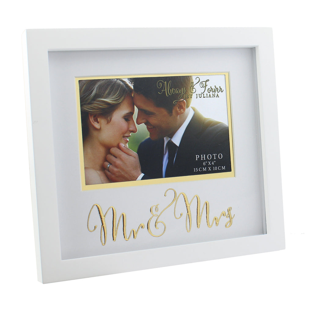 "Always & Forever MDF Frame with Gold Words Mr & Mrs 6"" x 4"" 