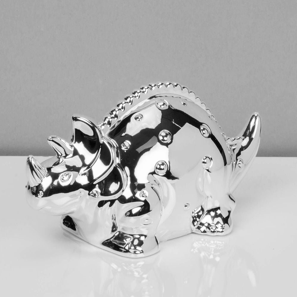 Bambino Silver Plated Dinosaur Money Box | Presentimes