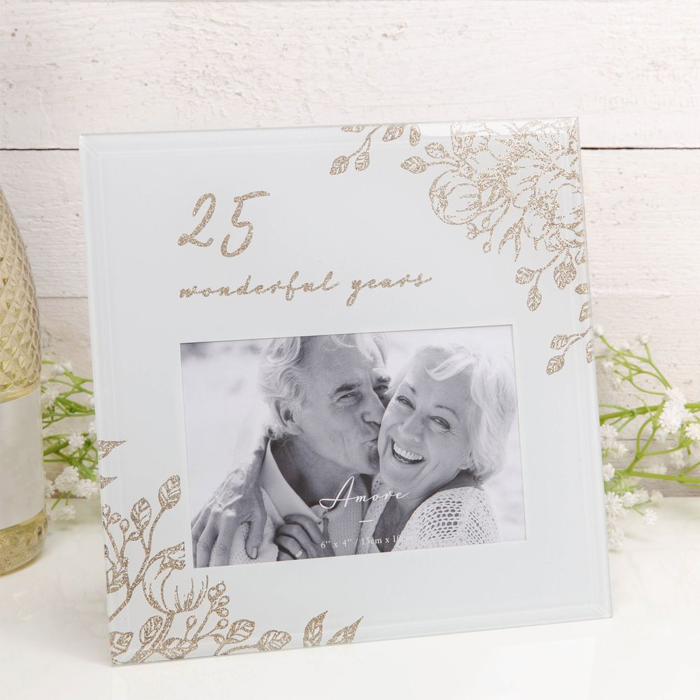 "6"" x 4"" - '25 Wonderful Years' Grey Glass Gold Floral Frame 