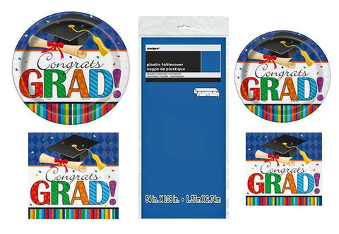 "16 Guest Graduation ""Grad Stripe"" Design Party Supplies Bundle: Disposable Lunch and Dessert Paper Plates, Napkins, and Tablecover"