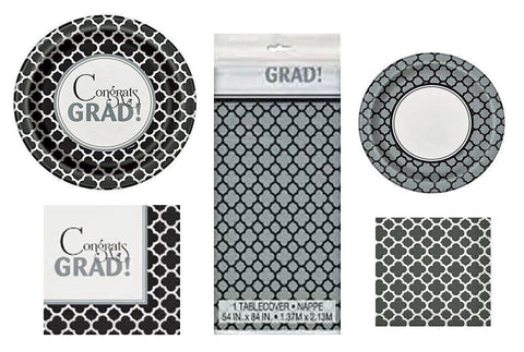 16 Guest Graduation Quatrefoil Design Party Supplies Bundle: Disposable Lunch and Dessert Paper Plates, Napkins, and Tablecover