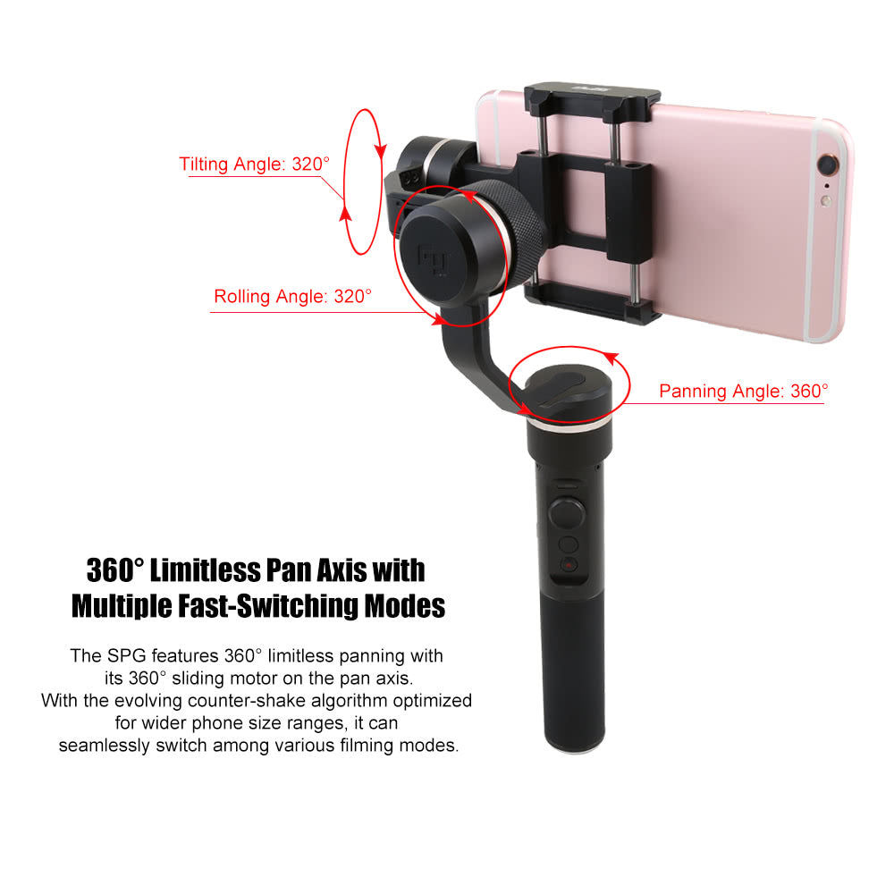 FeiyuTech SPG NEW VERSION - 3 Axis Splash Proof Smartphone & GoPro Handheld Gimbal Stabilizer