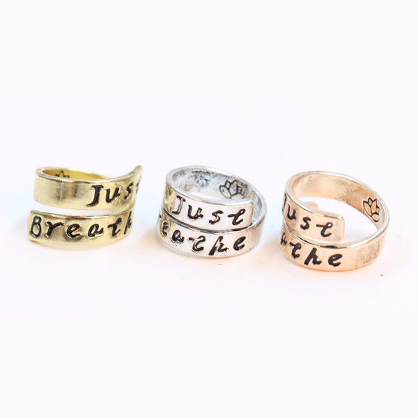 Just Breathe Stamped Ring