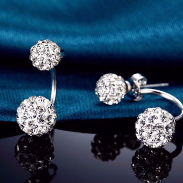 Fashionable Rhinestone Double Ball Earrings
