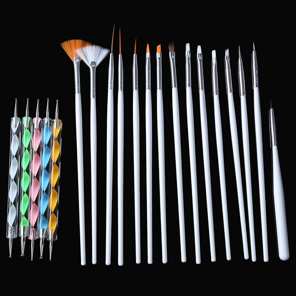 20 Pcs Nail Art Tool Polish Drawing Brushes