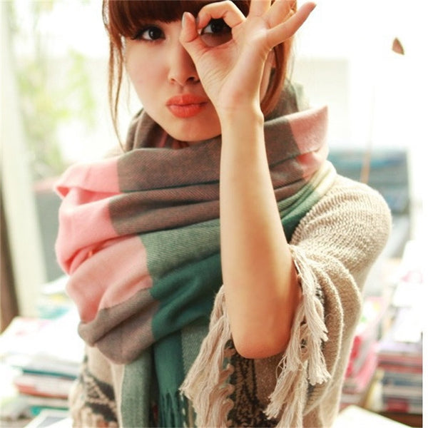 Wool Winter Scarf - Plaid Shawls