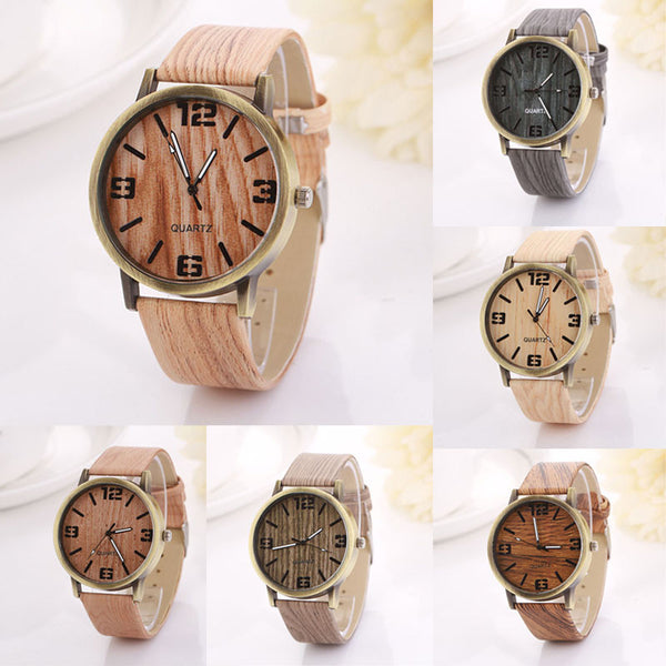 Women's Vintage Wood Grain Wrist Watch