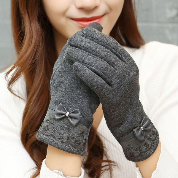 PU Leather Lace Bow Women Winter Gloves
