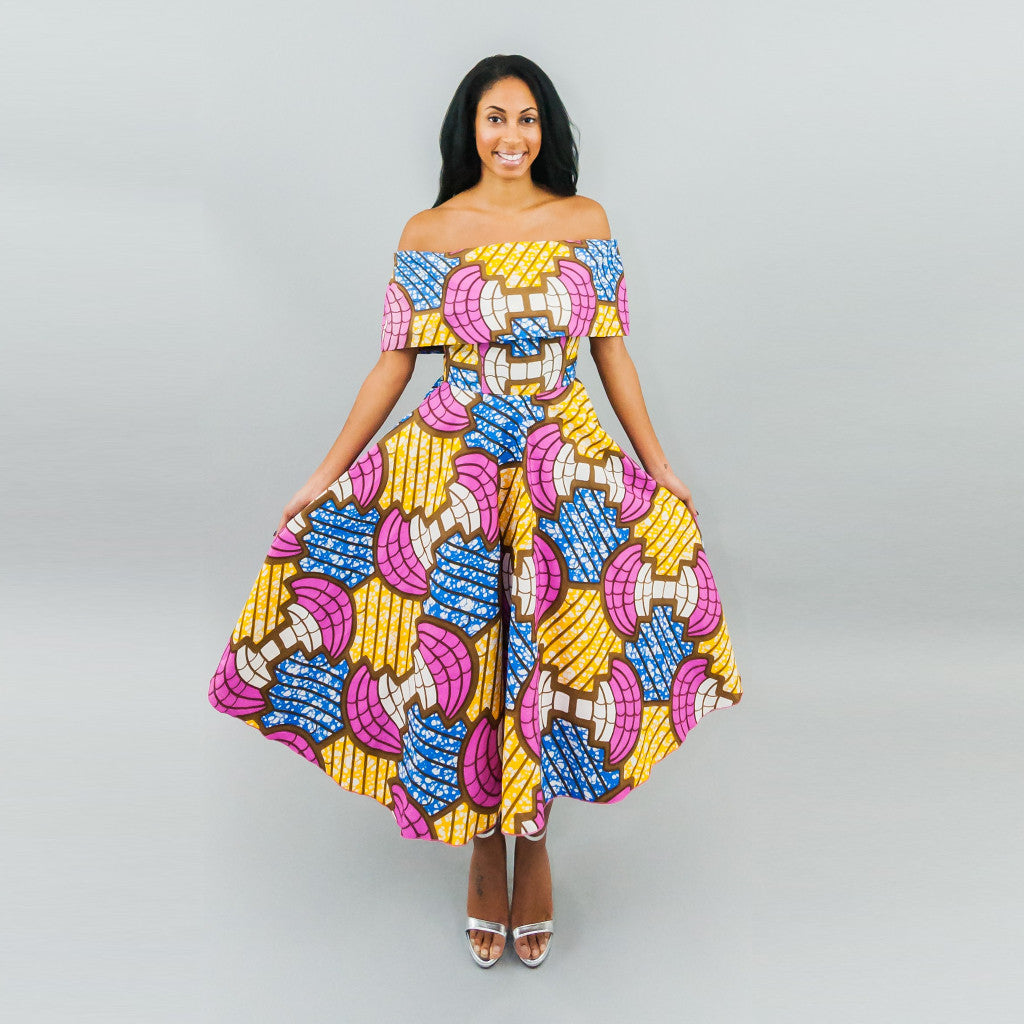 Annette Dress - Ankara Off Shoulder Midi Dress