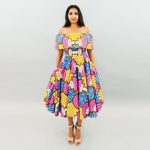 Wendy Dress - Ankara Off Shoulder Midi Dress