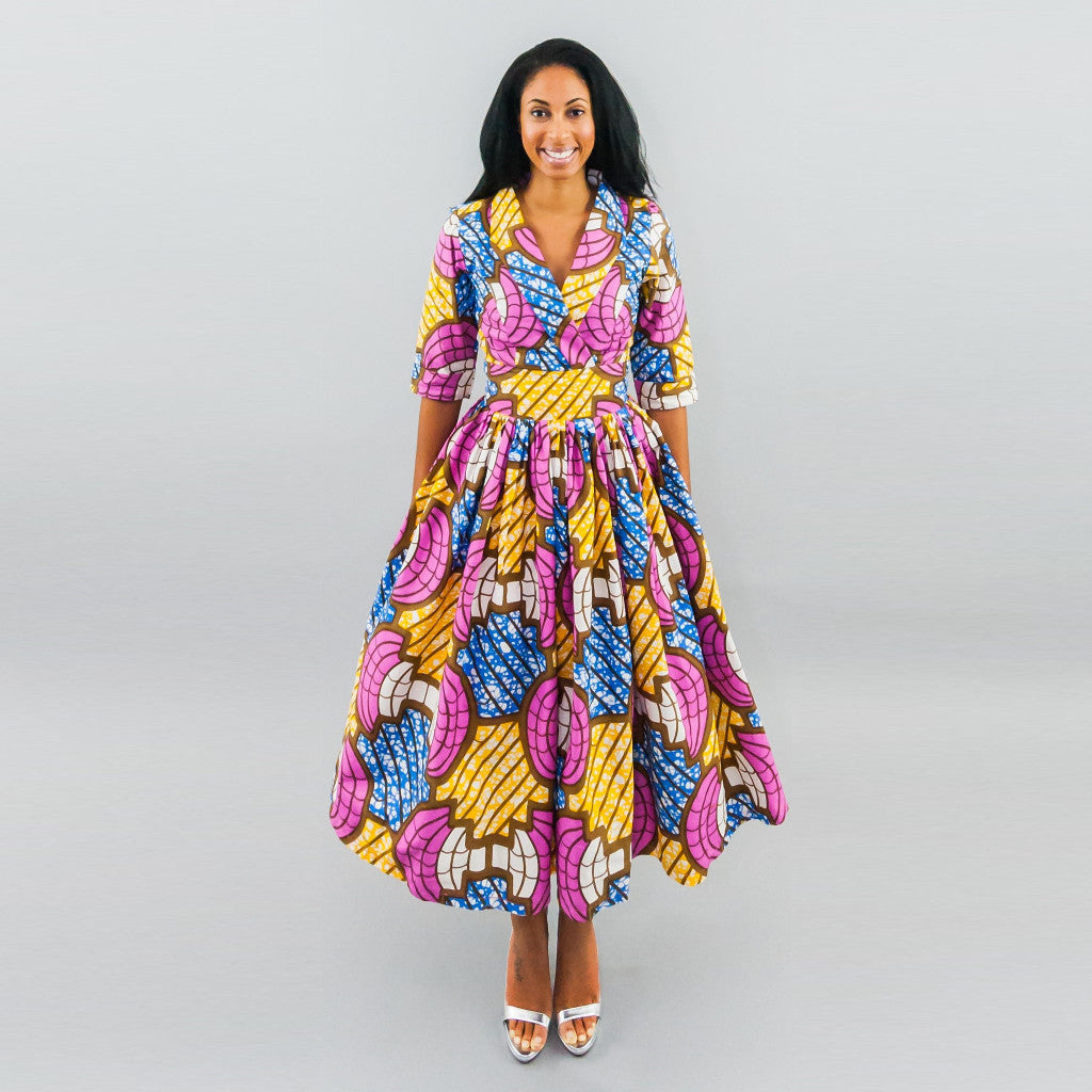 Eva Dress - Ankara Shawl Collar Faux Wrap Midi Dress