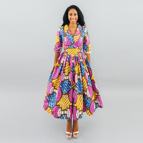 Cicely Dress - Ankara Shawl Collar Faux Wrap Midi Dress