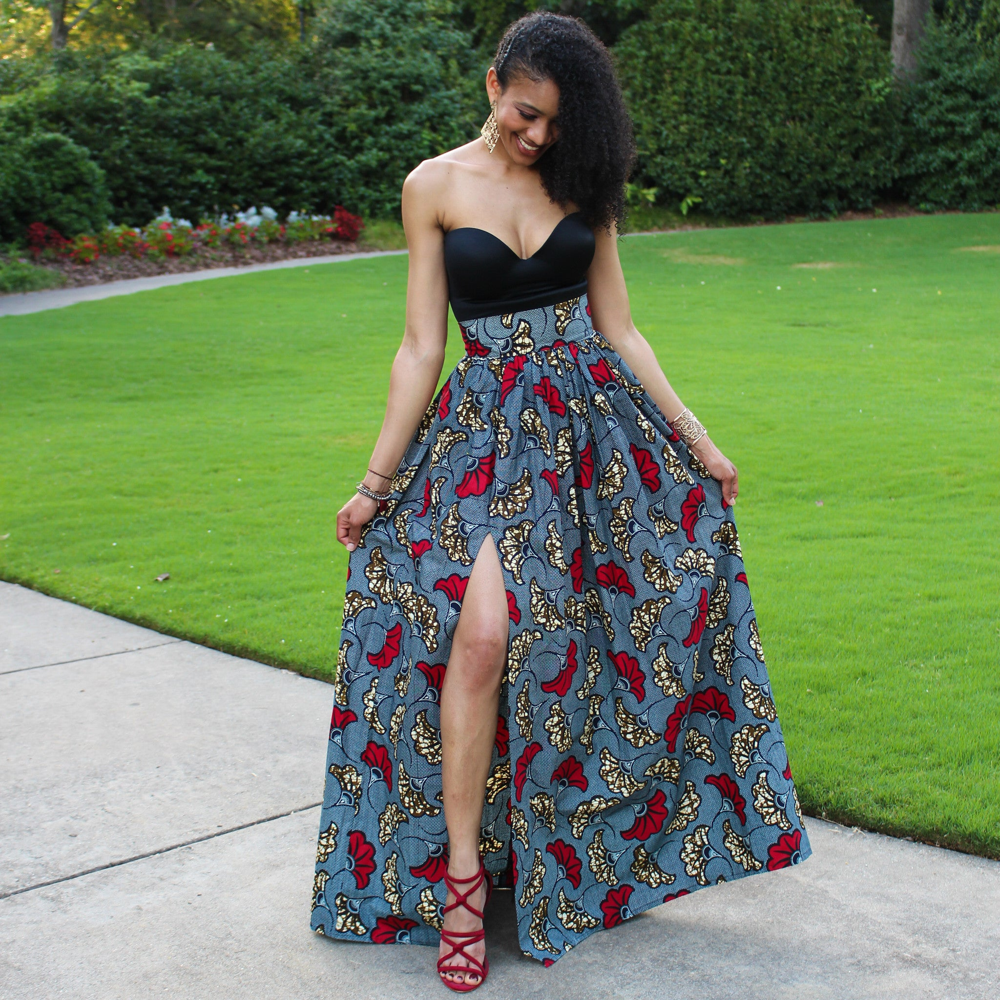 Ankara Floral African Print High Waist Maxi Skirt With