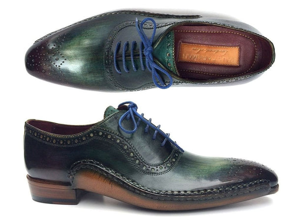 handmade green purple oxford shoes