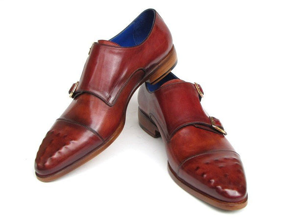 burgundy leather double monk strap shoes