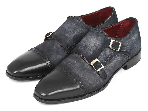 navy blue suede double monk strap shoes