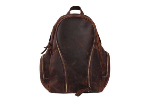 Moto leather backpack for men