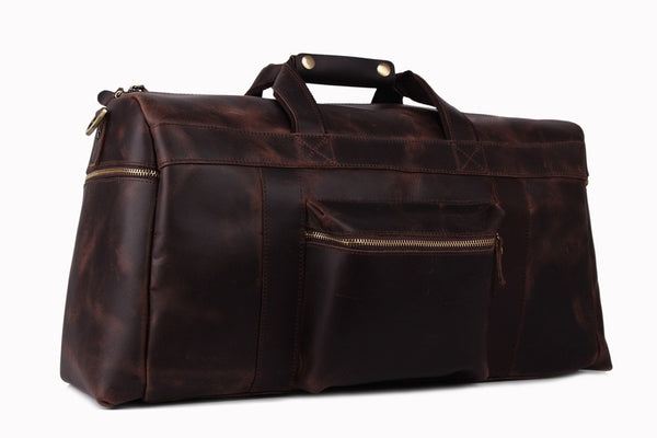 super large leather travel bags for men