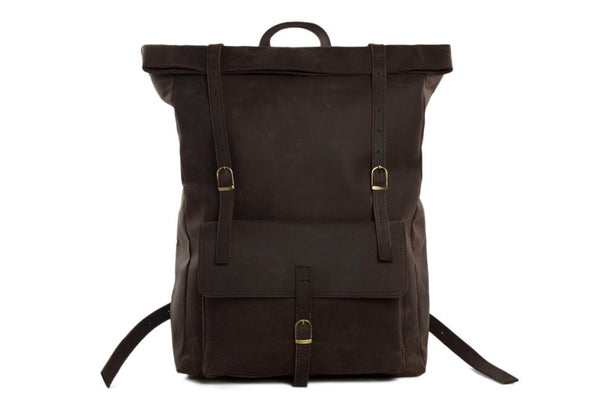 European style leather backpack for men