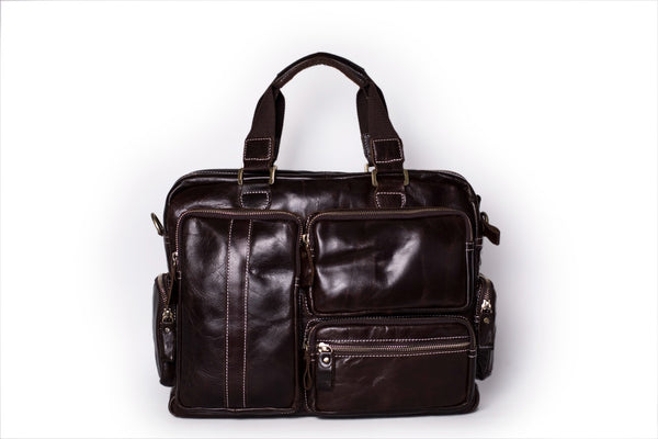 leather messenger bag with side pockets