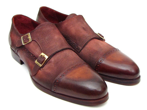 antique brown suede double monk strap shoes