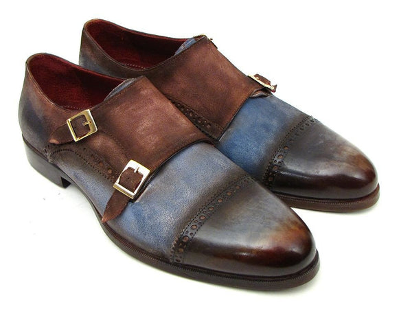 suede double monk strap shoes in blue brown