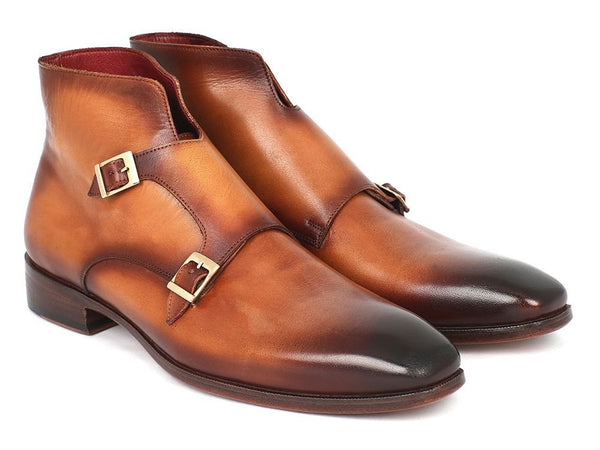 brown double monk strap boots