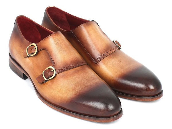two tone double mens monk strap