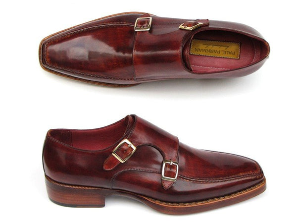 burgundy double mens monk strap
