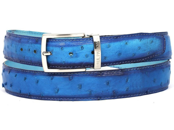 ocean blue mens ostrich belt