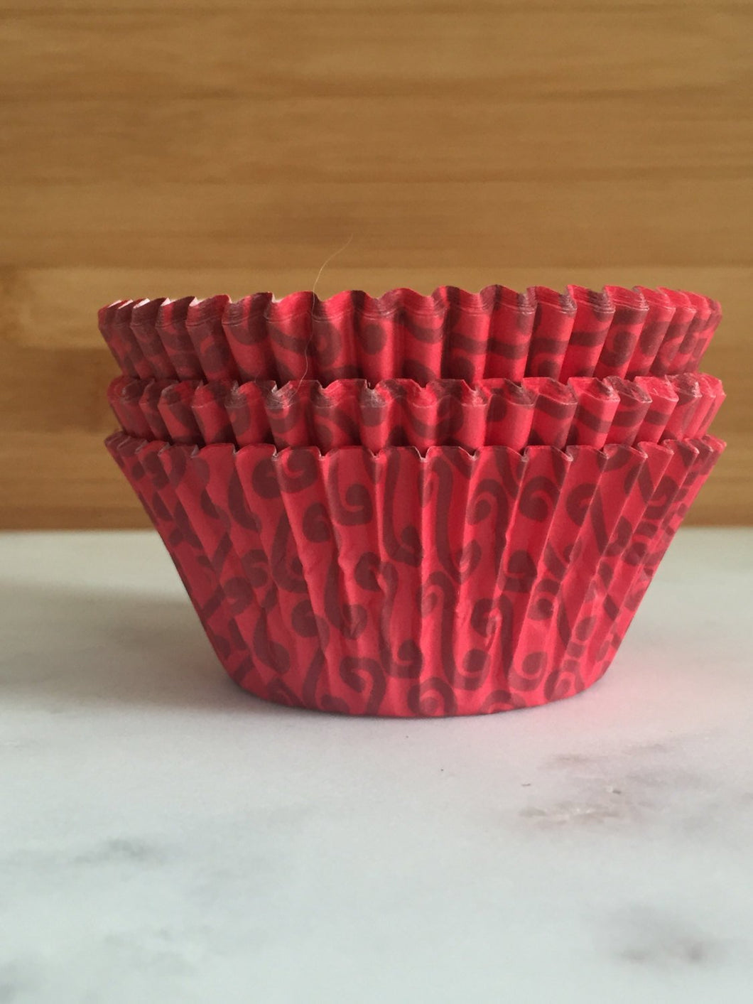 Red Swirl Cupcake Liners, Standard Sized, Baking Cups (50)