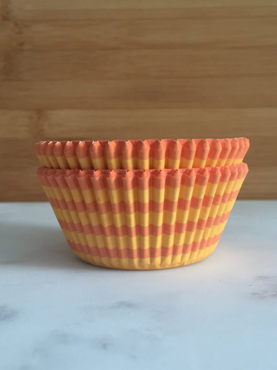 Orange and Yellow Stripe Cupcake Liners, Standard Sized, Baking Cups (50)
