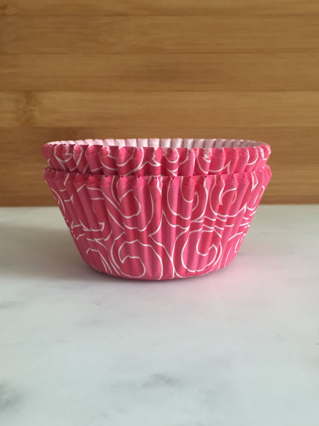 Pink with white swirls Cupcake Liners, Standard Sized, Baking Cups (50)