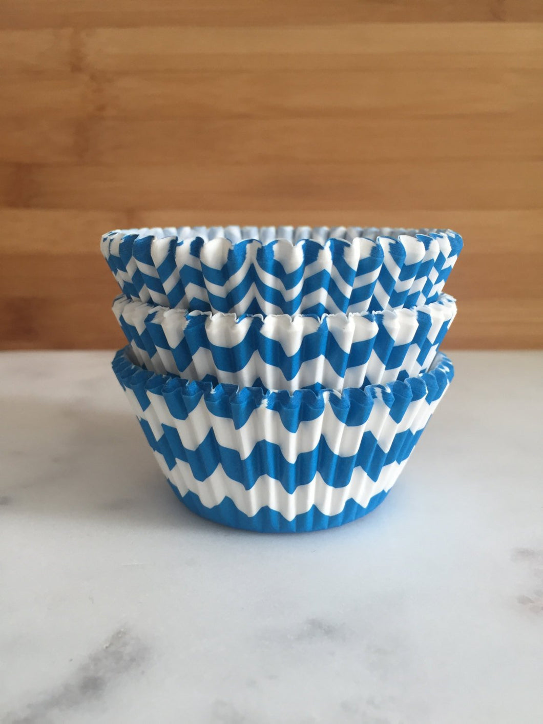 Blue Chevron Cupcake Liners, Standard Sized, Baking Cups (50)