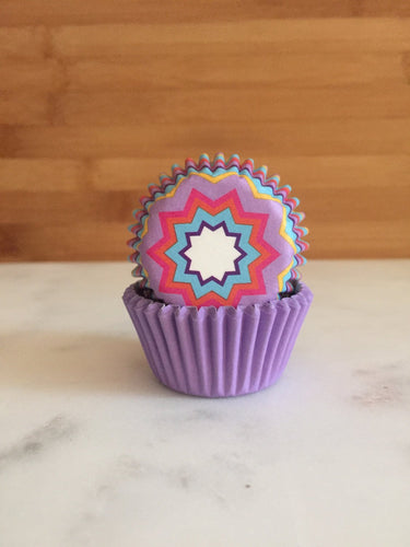 MINI Purple Retro Cupcake Liners, MINI Sized, Baking Cups (50)