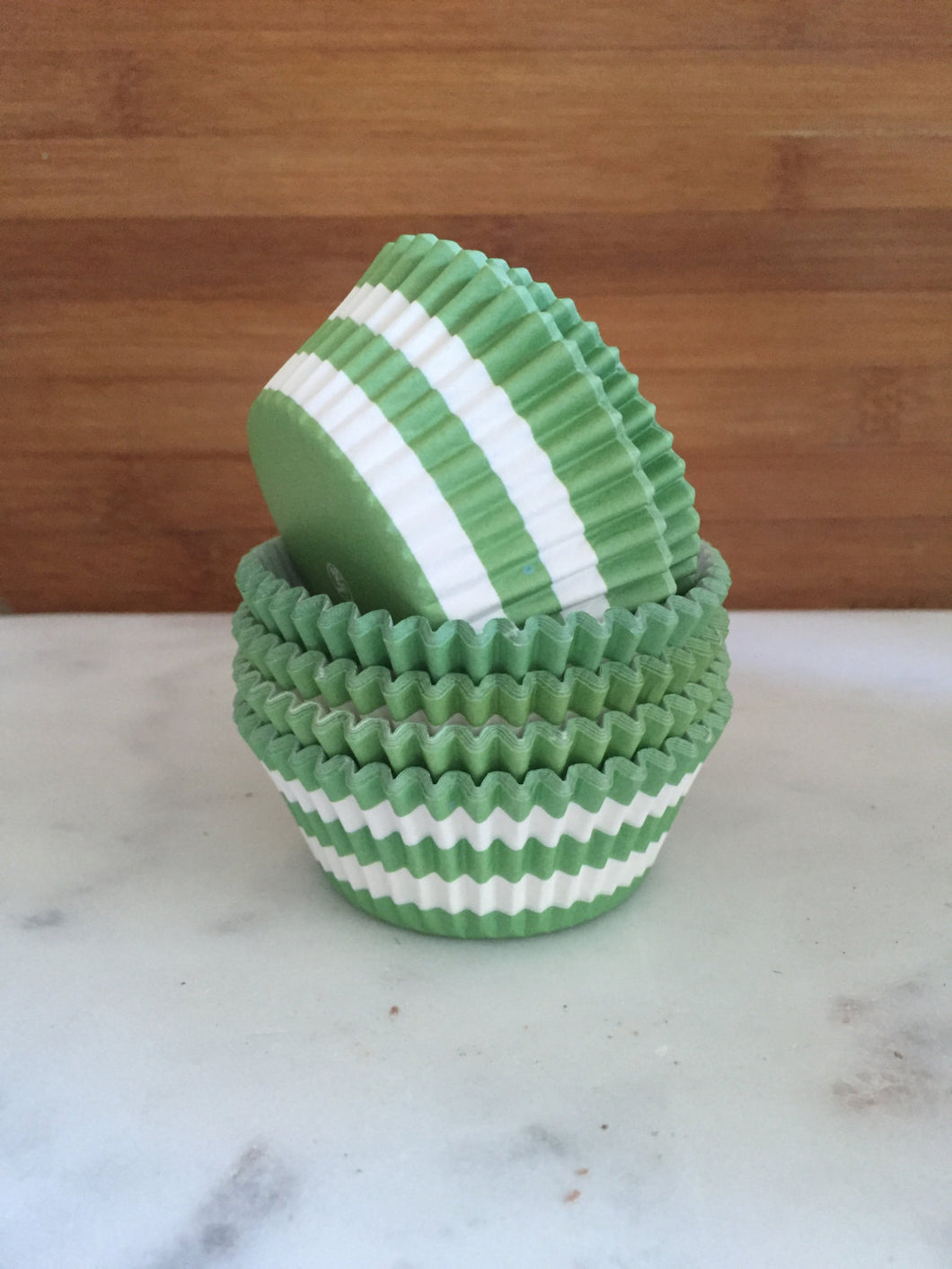 Rugby Stripe Green Cupcake Liners, Standard Sized, Stay Bright Baking Cups (50)