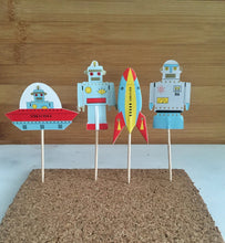 Robots and Spaceships, Cake, Cupcake Toppers (24)