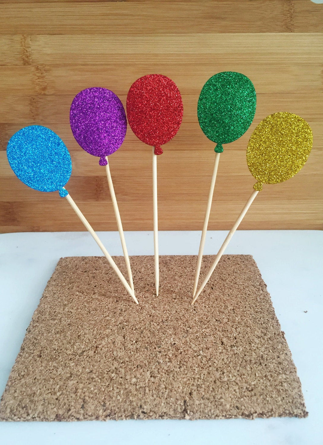 Balloon Sparkle Cupcake and Cake Toppers