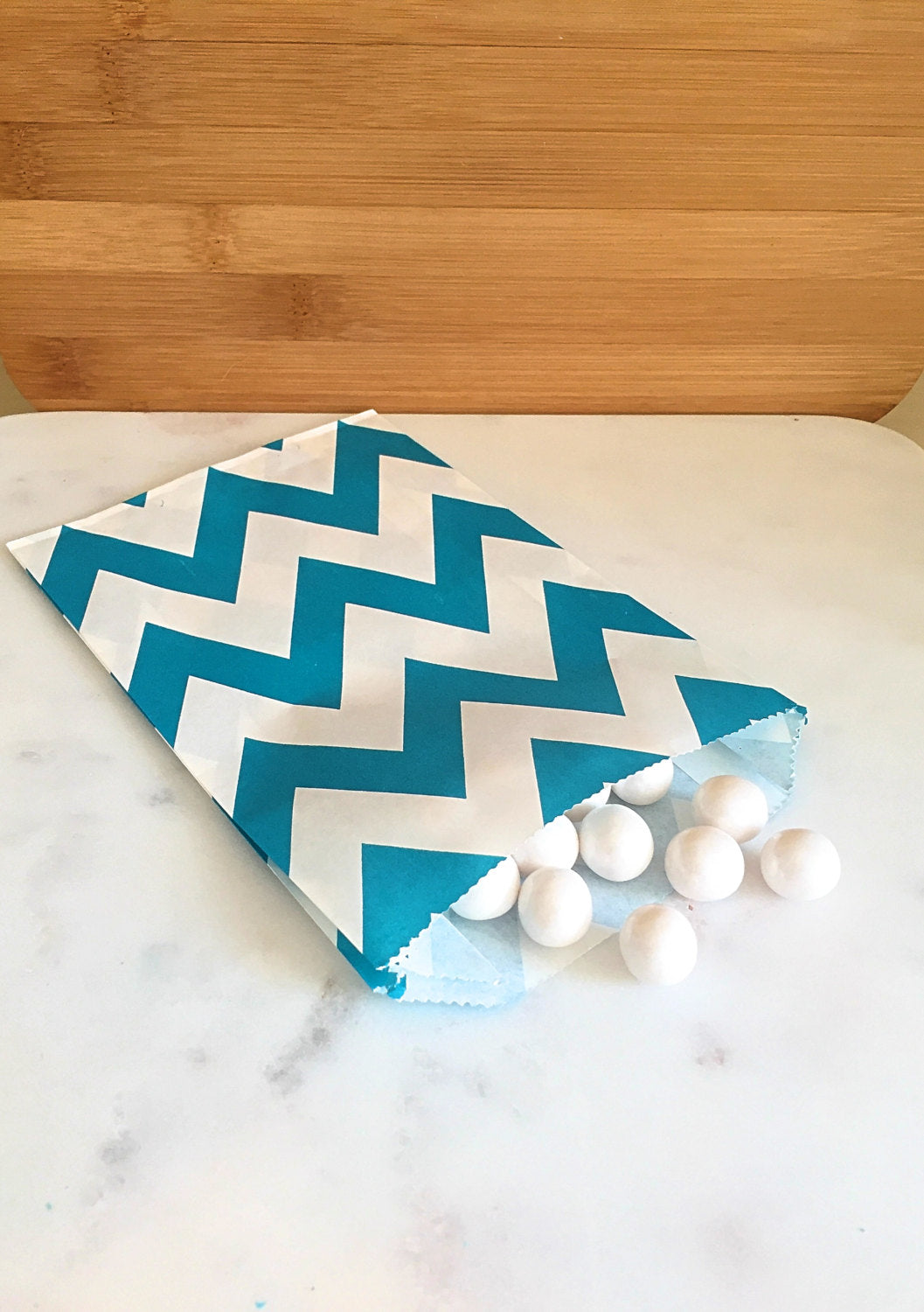 Aqua Blue Chevron Goodie Bags, Party Favors, Food safe (12)