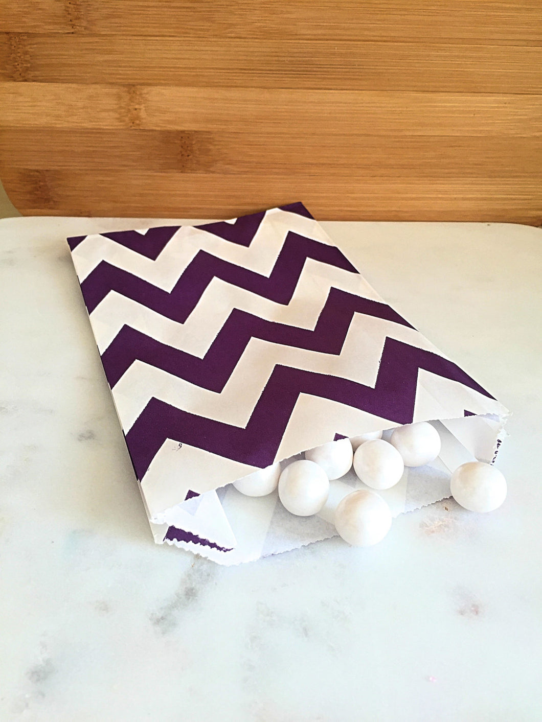 Dark Purple Chevron Goodie Bags, Party Favors, Food safe (12)
