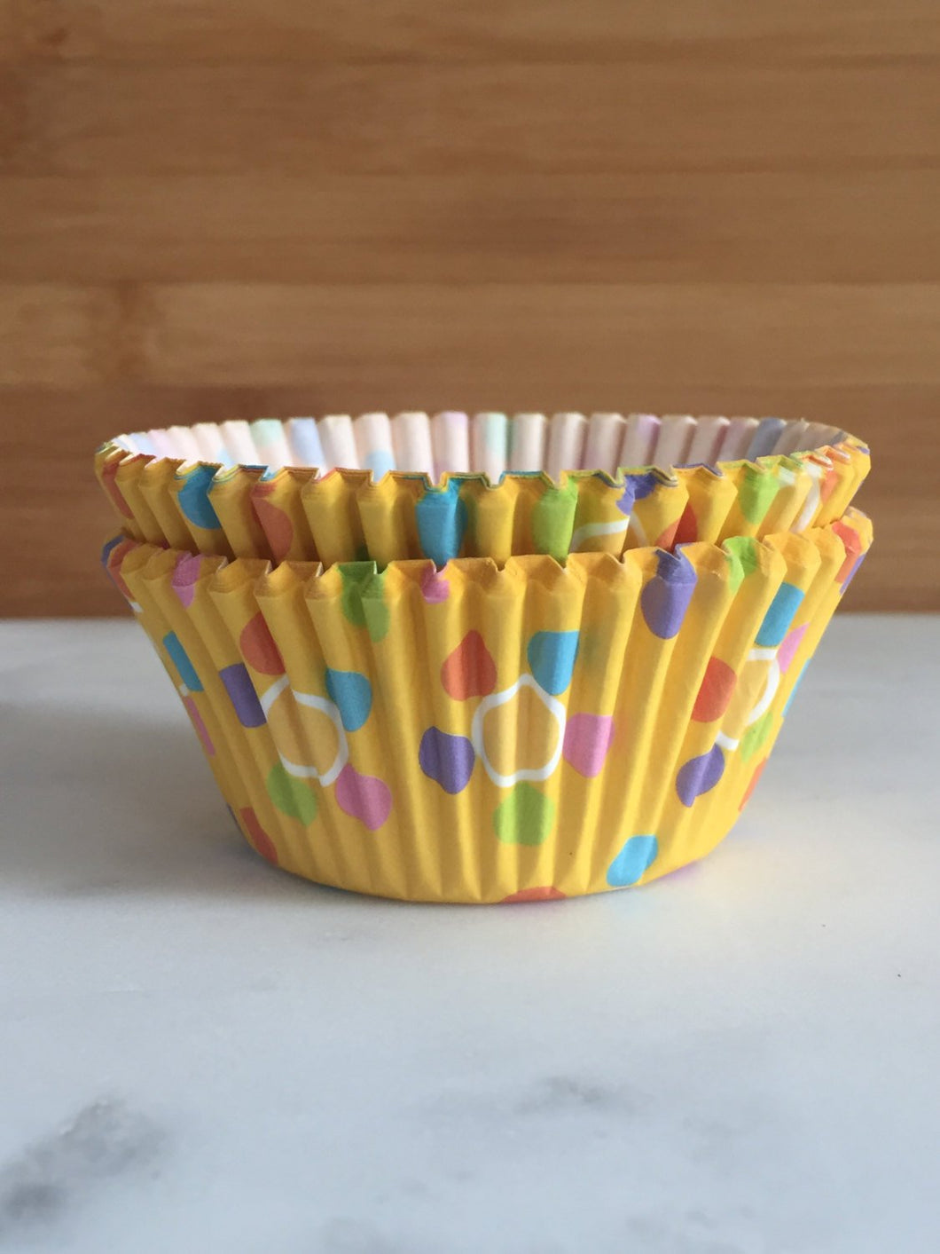Golden Yellow Polka Dot Cupcake Liners, Standard Sized, Baking Cups (50)