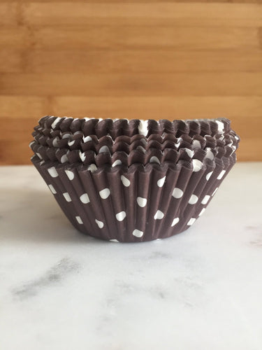 Brown & White Polka Dot Cupcake Liners, Standard Sized, Baking Cups (50)