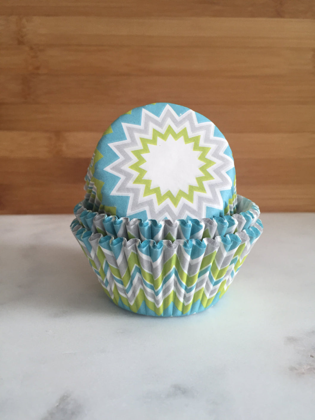 Lime Chevron Cupcake Liners, Standard Sized, Baking Cups (50)