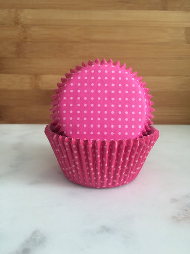 Hot Pink dotted Cupcake Liners, Standard Sized, Baking Cups (50)