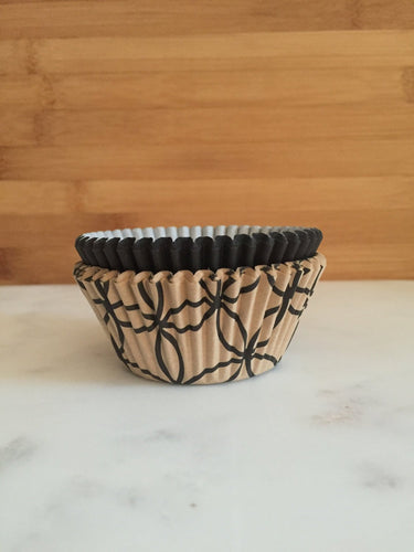 Gold and Black Cupcake Liners, Standard Sized, Baking Cups (50)