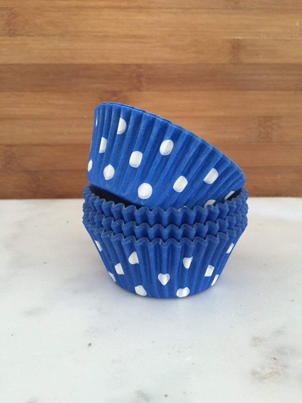 Blue Polka Dot Cupcake Liners, Standard Sized, Stay Bright Baking Cups (50)