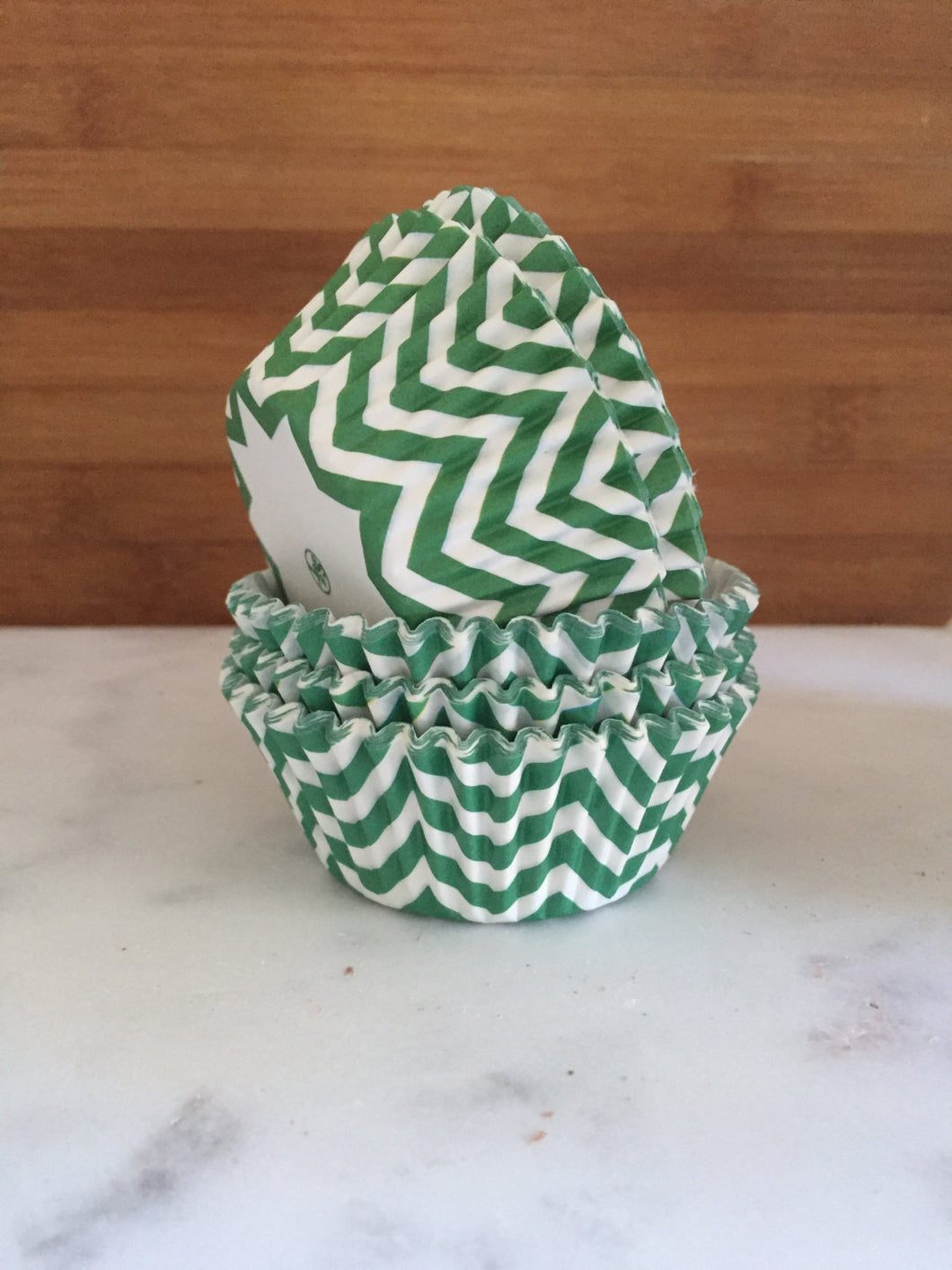 Green Chevron BakeBright Cupcake Liners, Standard Sized, Baking Cups (50)