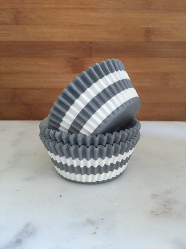 Rugby Stripe Grey BakeBright Cupcake Liners, Standard Sized, Baking Cups (50)