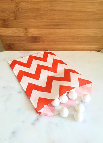 Orange Chevron Goodie Bags, Party Favors, Food safe (12)