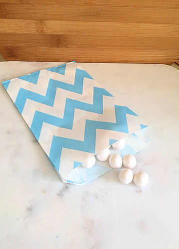 Light Blue Chevron Goodie Bags, Party Favors, Food safe (12)